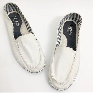 Women's Sperry Top Sider White Slip Ons P0280
